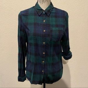 Passport Large button up plaid shirt
